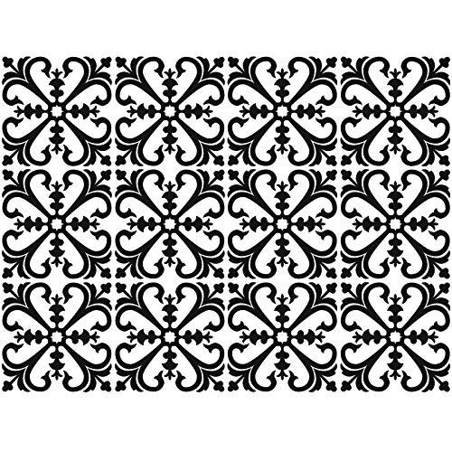 decalmile 12 Piezas Pegatinas de Azulejos 15x15cm Clásico Negro y Blanco Marroquí Adhesivo Decorativo para Azulejos Cocina Baño Decoración