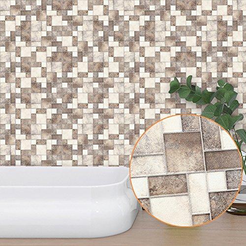 Bodhi2000 - Adhesivo decorativo para pared (PVC, 10 x 10 cm), diseño de mosaico de geometría vintage