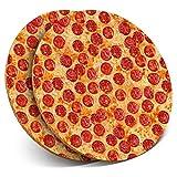 Destination 3874 - Posavasos de Vinilo (2 Unidades), diseño Redondo con Texto en inglés Pepperoni Pizza Teenage Boys Drink Glossy Coasters/Tabletop Protection para Cualquier Tipo de Mesa
