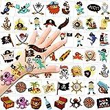 HOWAF Tattoo Kinder, 96 x Piraten Tattoo Set, Piraten temporäre Tattoo, wasserdichte/Hautfreundliche Kindertattoos Aufkleber for Jungen Mädchen Mitgebsel Kindergeburtstag Gastgeschenke