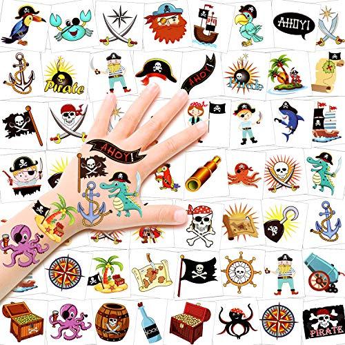 HOWAF 96pcs Pirate Tatouages Temporaire pour Enfants, Etanche Tatouages ephémères Enfants Fille Garcon pour fête de Pirates Anniversaire d'enfant Sac De Fête Cadeaux