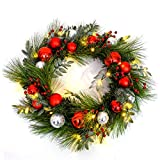 MARTHA STEWART Wreath Pre-Lit Artificial Greenery, 24 Inch, Red Ornament and Berry