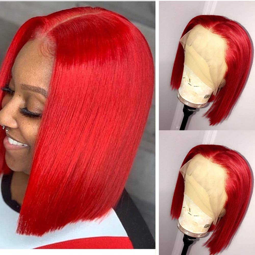 Red Bob Wig T Part Lace Front for Wigs Hair Silky Japan Maker New Limited time for free shipping Human Straight