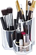 Sooyee Premium Acrylic Brush Holder Desk Organizer, Lipstick Organizer, Round, Clear,3 compartments can be Placed with 20-...