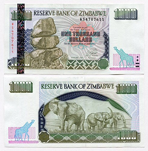 Simbabwe 1000Dollar 2003UNC, World Inflation Währung Banknoten, P12