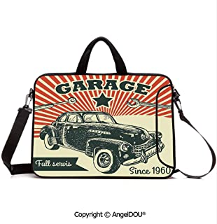 AngelDOU Laptop Sleeve Notebook Bag Case Messenger Shoulder Laptop Bag Retro Car and Garage Advertising Poster Style Picture with Grunge Effects 1960s Compatible with MacBook HP Dell Lenovo Grey Be