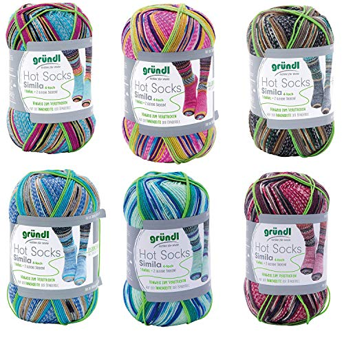 theofeel 6X 100g Sockenwolle Paket Gründl Hot Socks Simila #03 mit Anleitung und Größentabelle, 2 gleiche, identische Socken Stricken