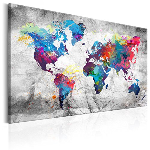 murando Quadro Mappamondo 120x80 cm Stampa su Tela in TNT XXL Immagini Moderni Murale Fotografia Grafica Decorazione da Parete Mappa del Mondo Mappa Continente k-A-0179-b-d
