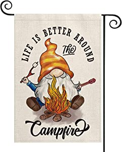 AVOIN colorlife Life Is Better Around The Campfire Garden Flag Vertical Double Sided, Barbecue Gnome Marshmallow Mini Flag, Fire Pit Camper Yard Outdoor Decoration 12.5 x 18 Inch