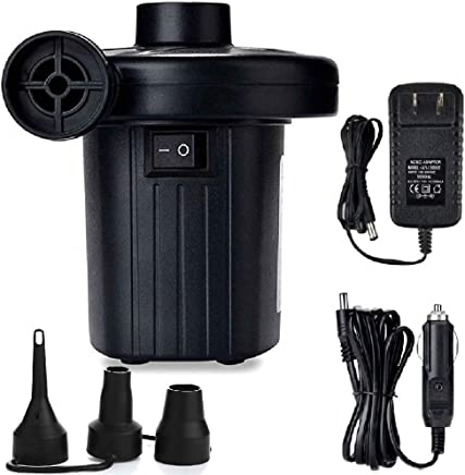 Jakoghii Electric Air Pump Air Mattress Pump for Inflatable Blow Up Pool Toys Air Mattress Rafts Bed Boat Floats,  Quick-Fill Air Pump with 3 Nozzles, 110V AC/12V DC