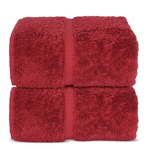 Indulge Linen Bath Sheets, 100% Turkish Cotton (Cranberry, Standard (35x70 inches) - Set of 2)
