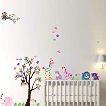 Cartoon Animals Large Wall Stickers For Children's Room Decoration DIY Removable Wall Paper For Kindergarten Kids' Room Home Decor