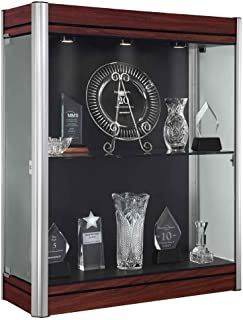 Contempo Series Lighted Wall Display Case Case Backing: Black, Frame Color: Satin, Base Color: Cherry