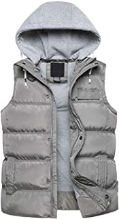 SEFON Men's Winter Thicken Puffer Cotton Vest Sleeveless Jacket Gilet with Removable Hood