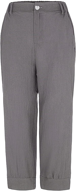 BOIYI Wide Leg Pants for Women Boho Linen Dealing full price reduction Super popular specialty store Elastic Waist Cropped