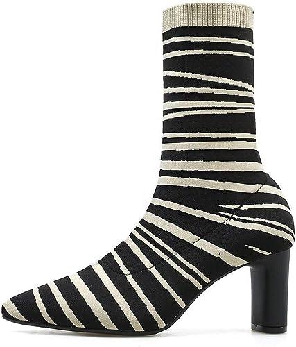 ZHRUI zapatos de mujer botas Elegantes para mujer Botines de Cebra Tacones Altos Elasticidad Tacón Grueso Punta Puntiaguda zapatos de Bota botas de Invierno (Color   negro2`, tamaño   37 EU)