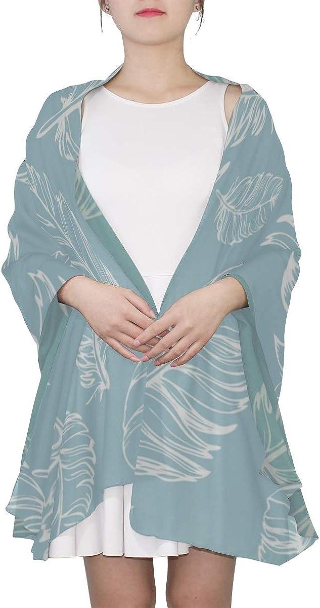 Lady Scarf Blue Feather Magical Style Long Wrap Shawl Lightweight Fashion Scarf Lightweight Print Scarves Fashion Lightweight Scarf Scarf For Teens