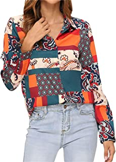 LEKODE Women T-Shirts Fashion Printed Lapel Long Sleeve Tops