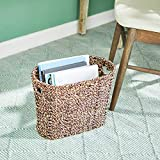 """Large, Oval, Natural Brown Seagrass Magazine Rack, Woven Wicker Magazine Rack, Wicker Rack with Handles, Book Rack Home Organization, 15"""" x 12.5"""""""