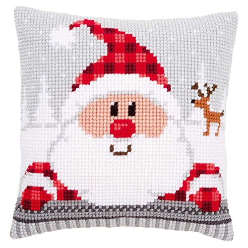 Vervaco Santa in a Plaid Hat Pillow Cover Needlepoint Kit