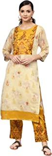 Mustard Printed Kurta Set for Women