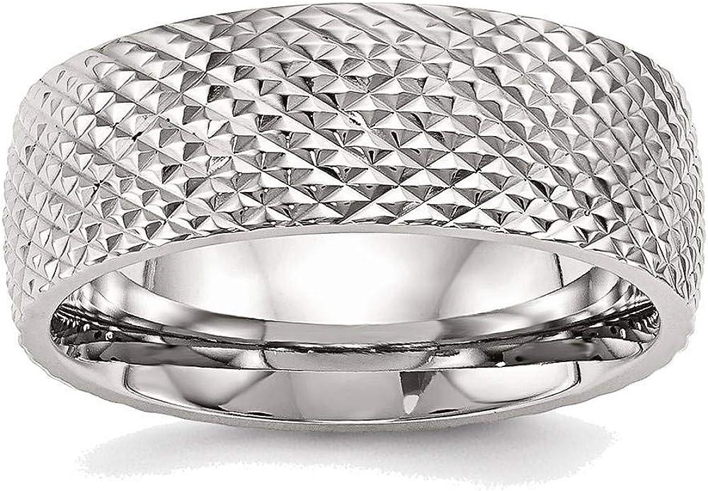 BillyTheTree SALENEW very popular Fresno Mall Jewelry Stainless Steel Textured Ring Polished SR48