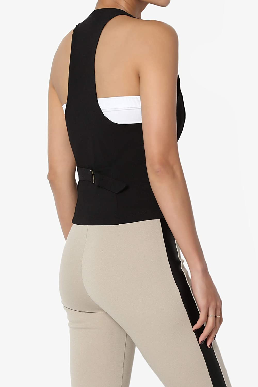 TheMogan Women Plus Dressy Casual Versatile Racerback Vest Tuxedo Suit Waistcoat