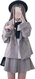 セットアップ コート+スカート 2点 ショット丈 上下 学院風 チェック柄 森ガール 可愛い リボン Aライン ゆったり 着やせ おしゃれ 学生 秋冬