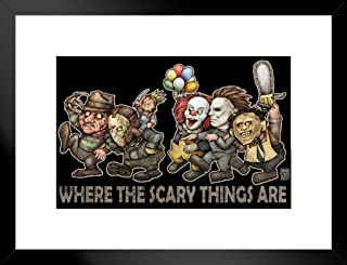 Poster Foundry Where The Scary Things are by Big Chris Black Horror Movie Matted Framed Art Print Wall Decor 26x20 Inch