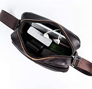 Haibeisi Fashion Unique Men's Shoulder Bag Leather Crossbody Bag Durable Waterproof Single Bag Sports Casual Leather Collect Money Bag (Color : Brown, Size : M)