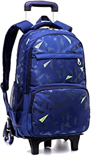 ZLSANVD 6 Wheel Trolley Bag - Middle School Student Large Capacity Boy Hand Trailer Six Wheel Climbing Stairs Waterproof Rolling Trolley Backpack Waterproof Nylon Suitcase (Color : Blue)