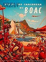 ERZANメタルポスター壁画ショップ看板ショップ看板B-O-A-Cヴィンテージトラベルアート広告によるカリブ海への飛行インテリア 看板20x30cm