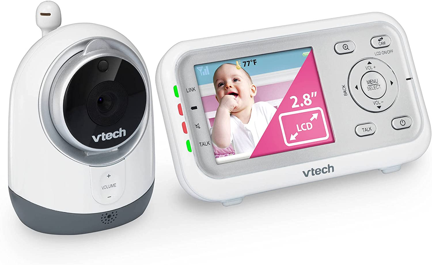 VTech VM3251 Video Baby Monitor with Automatic Infrared Night Vision, Soothing Sounds & Lullabies, Temperature Sensor & 1,000 feet of Range (Renewed)