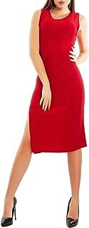 Toocool - Vestito Donna Abito Lurex Tubino Aderente Spacco Elegante Sexy VB-5905