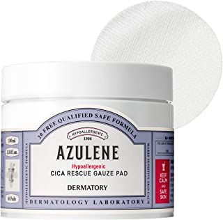 Dermatory Azulene Hypoallergenic CICA Rescue Gauze Pad for Irritated Skin | Moisturizing, Skin-Relief, Free of 98 Allergens, Fragrance Free, Hypoallergenic Tested, Dermatologist Tested (60 Pads)