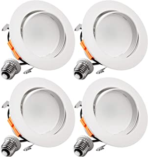 TORCHSTAR 4 Inch LED Gimbal Recessed Retrofit Downlight, 10W (65W Eqv.), CRI90+, Dimmable Directional Ceiling Light, Energy Star & UL, Offwhite Trim, 3000K Warm White, 5 Years Warranty, Pack of 4