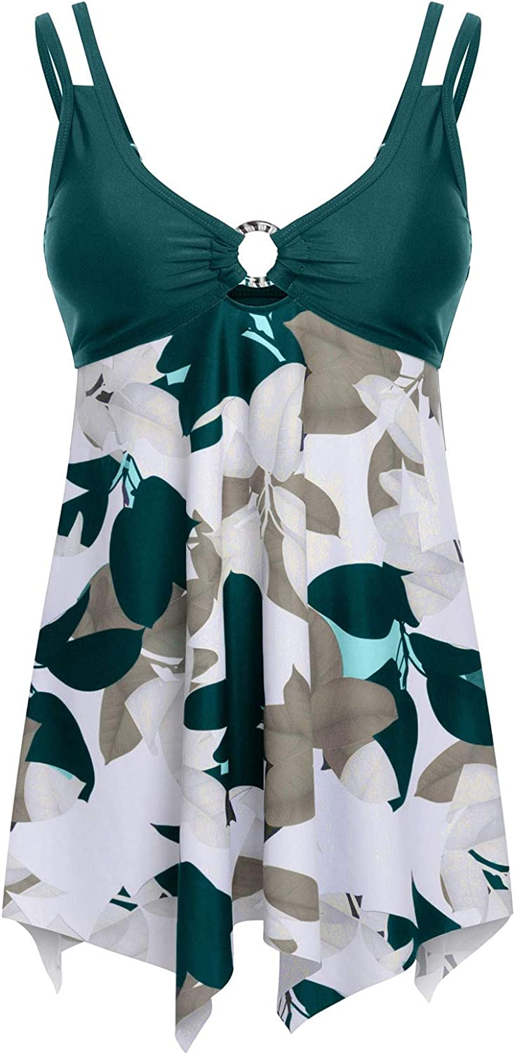 Beppter Women Swimsuits Two Piece Swimsuits Tankini Swimdress Printed Bathing Suit Dress Tummy Control with Bottom X