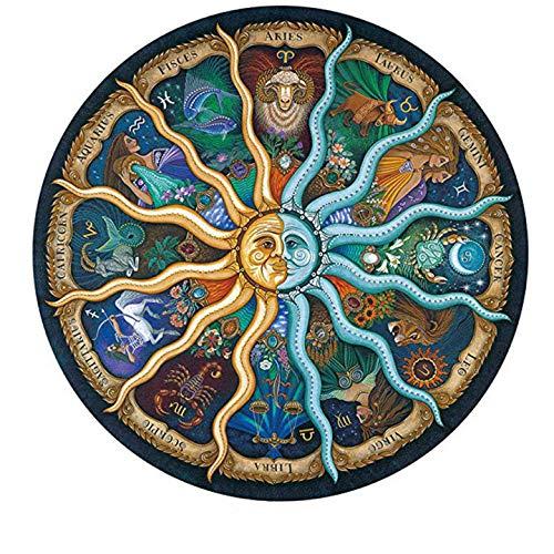 500 Pieza Redonda Rompecabezas del Zodiaco del horóscopo Puzzle DIY constelación Circular Rompecabezas Regalo de cumpleaños Juego
