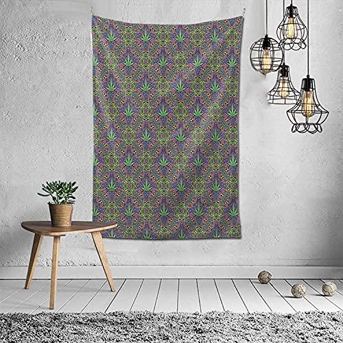 Tapiz tapiz de marihuana con hojas de marihuana para colgar en la pared para el dormitorio (60 x 40 pulgadas)