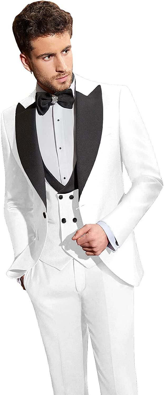 Rdzding Mens Slim Fit Suit 3 Piece Blazer Tuxedo Party Daily Jacket Formal Groomsmen Suits for Wedding Jacket Business Coats