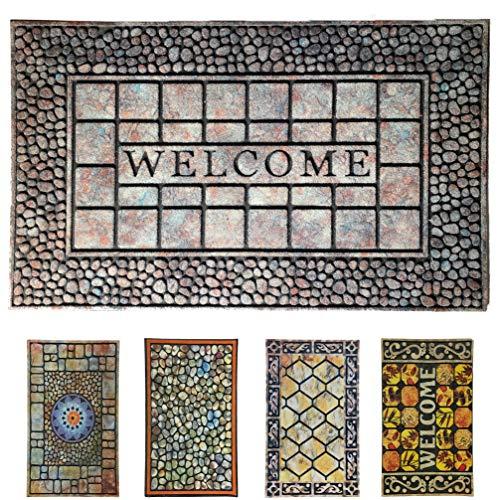 LucaHome - Felpudo Entrada casa de Goma-Flocada Texas 45x75 cm Forma Base Antideslizante, Felpudo Premium, fácil Limpieza, Felpudo Absorbente Acolchado, Fepudo para Exterior e Interior (Welc Piedra)