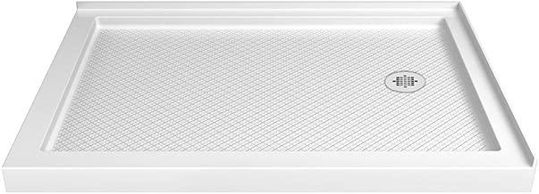 DreamLine SlimLine 34 in. D x 48 in. W x 2 3/4 in. H Right Drain Double Threshold Shower Base in White, DLT-1034482