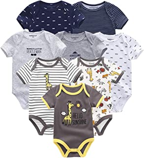 Baby Clothes 8 PCS/lot 100% Cotton Short Sleeve Spring Autumn Jumpsuit Kids Baby Bodysuit