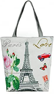Women's Large Cotton Canvas Tote Bag Eiffel Tower Ecofriendly Portable Foldaway Bags Top-Handle Bags Handbags