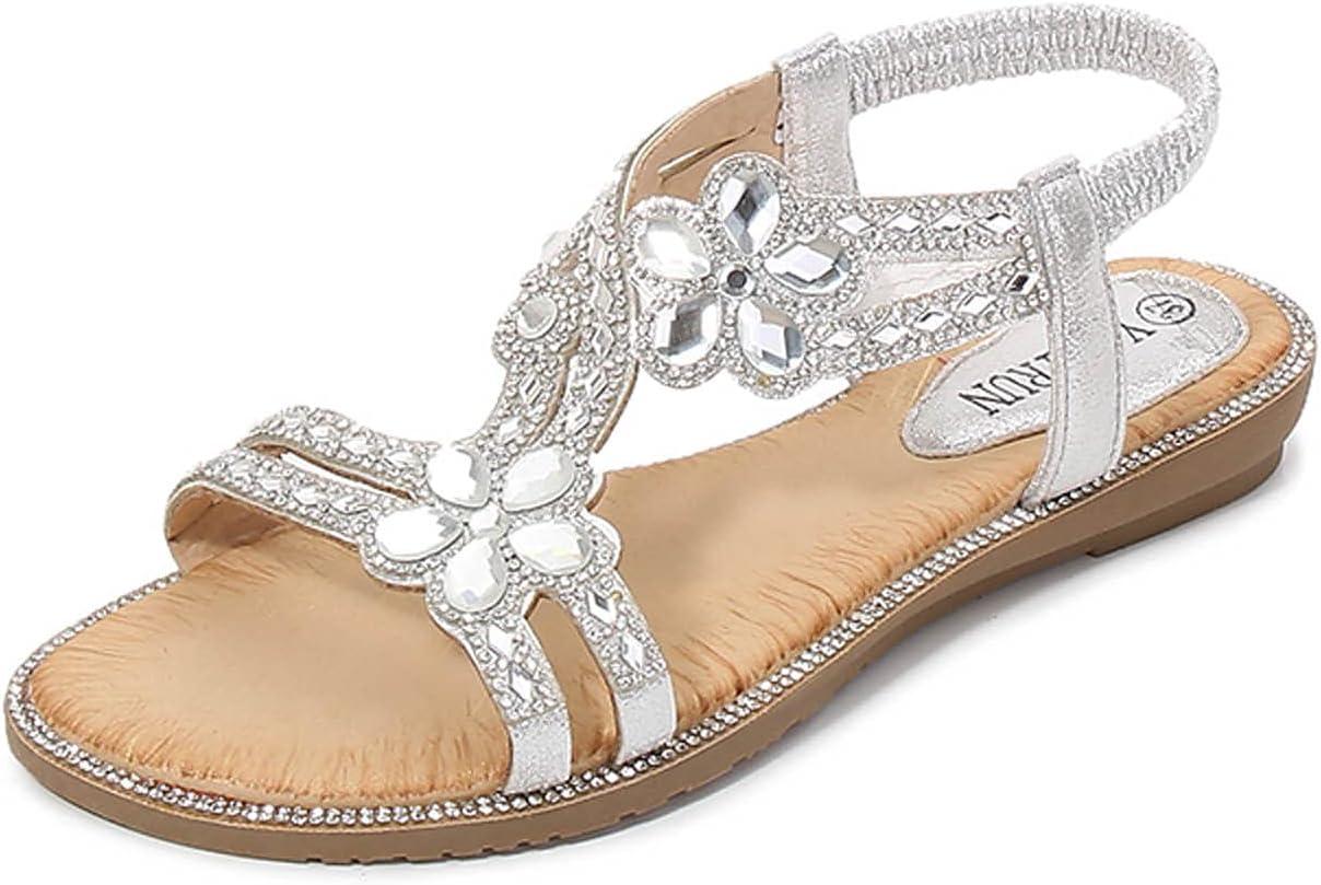 kakina Sandals for Women Dressy Fashion Rhinestone Jewelry Sandals Slip-on Open Toe Flat Beach Slides Sandals Comfy Casual Summer Bohemian Travel Flat Sandals
