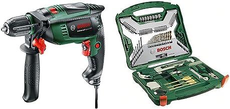 Bosch Universal Impact 800 - Taladro percutor, 800 W, empuñadura adicional, tope de profundidad, maletín (ref. 0603131100) & X-Line Titanio - Maletín de 103 unidades para taladrar y atornillar