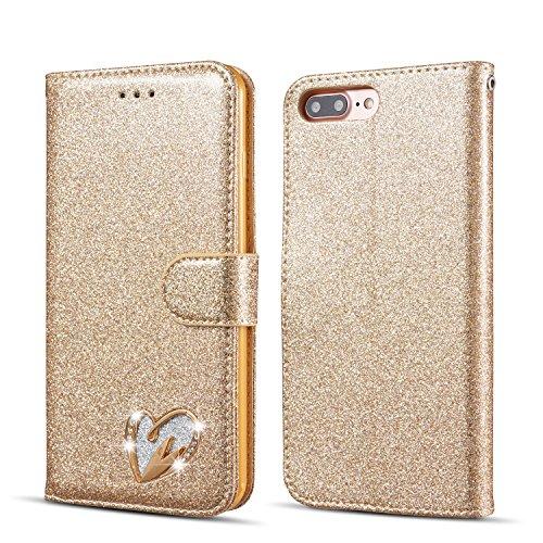QLTYPRI iPhone 5 5S SE Hülle, Glitzer Handyhülle PU Ledertasche TPU Etui Handschlaufe Kartenfach mit Eingelegten Liebe Herz Diamond Flip Schutzhülle für iPhone 5 5S SE - Gold