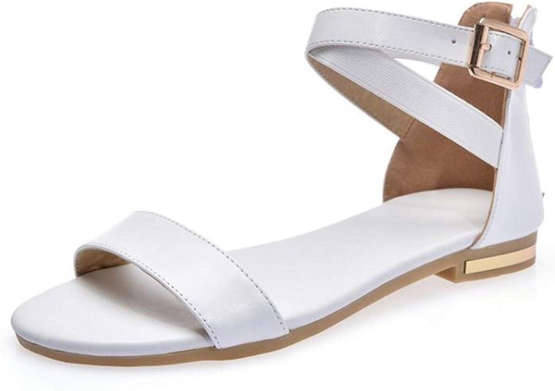 Qounfhy Women Falts Sandals Real Leather Zipper Open Toe Women Sandals Korean Fashion shoes Vacation Footwear Size 33-42
