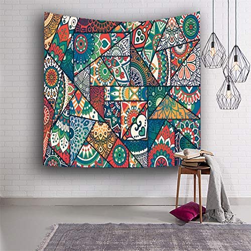 Tapiz De Pared,Indio Hippie Tapices Geometría Del Triángulo Mandala Verde Indio Indias Trippy Bohemia Colgante De Pared Decoración De Pared Para Dormitorio Sala De Estar Toalla De Playa,78.7×59.
