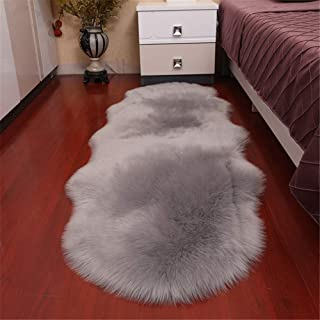 Dikoaina Classic Soft Faux Sheepskin Chair Cover Couch Stool Seat Shaggy Area Rugs for Bedroom Sofa Floor Fur Rug (Grey, 2 x 6 Feet Double Shape)